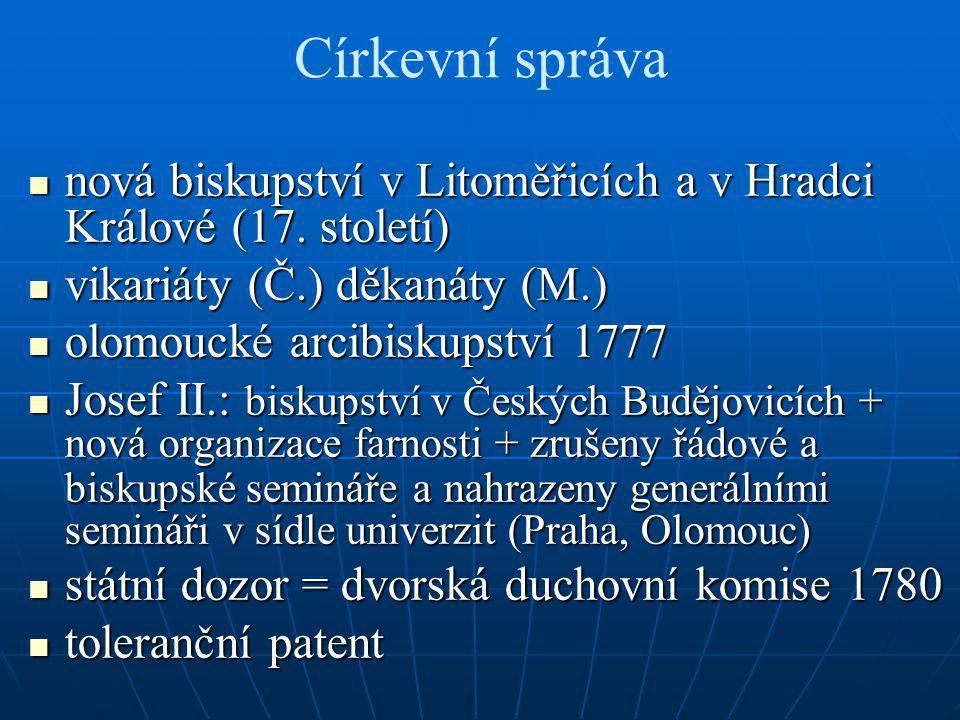 Církevní správa nová biskupství v Litoměřicích a v Hradci Králové (17. století) nová biskupství v Litoměřicích a v Hradci Králové (17. století) vikari