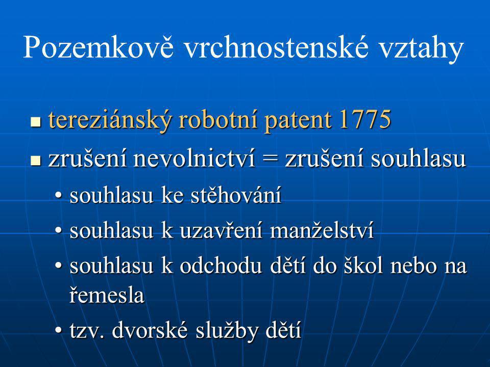 Pozemkově vrchnostenské vztahy tereziánský robotní patent 1775 tereziánský robotní patent 1775 zrušení nevolnictví = zrušení souhlasu zrušení nevolnic