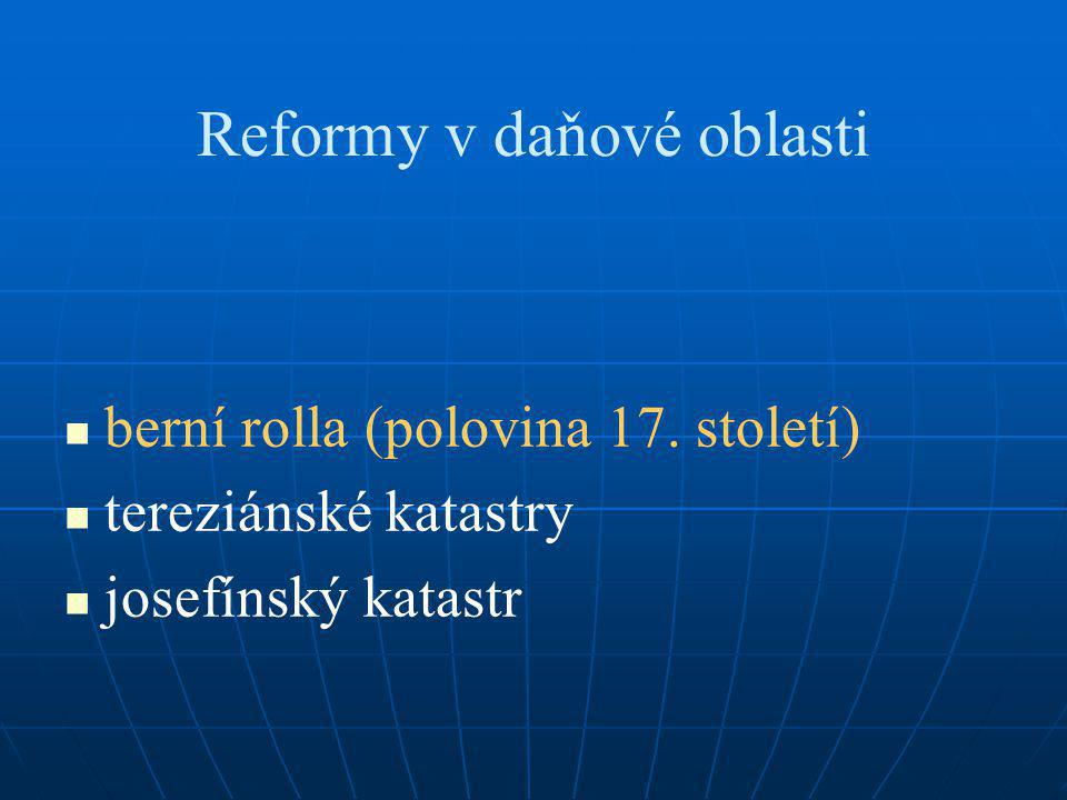 Reformy v daňové oblasti berní rolla (polovina 17. století) tereziánské katastry josefínský katastr