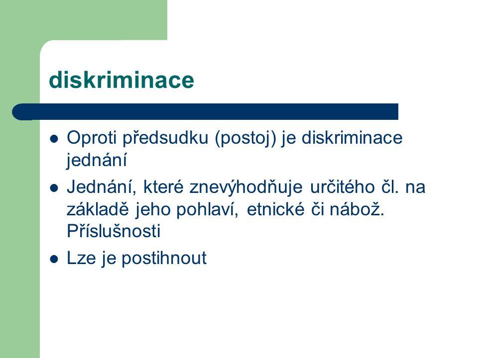 diskriminace Oproti předsudku (postoj) je diskriminace jednání Jednání, které znevýhodňuje určitého čl. na základě jeho pohlaví, etnické či nábož. Pří