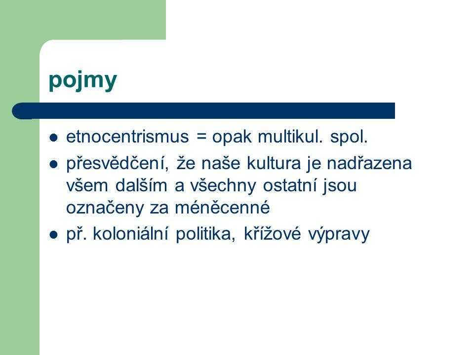 pojmy etnocentrismus = opak multikul.spol.