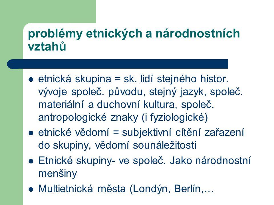 problémy etnických a národnostních vztahů etnická skupina = sk. lidí stejného histor. vývoje společ. původu, stejný jazyk, společ. materiální a duchov
