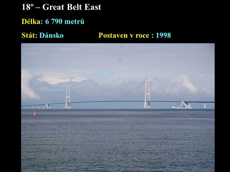 18º – Great Belt East Délka: 6 790 metrů Stát: Dánsko Postaven v roce : 1998