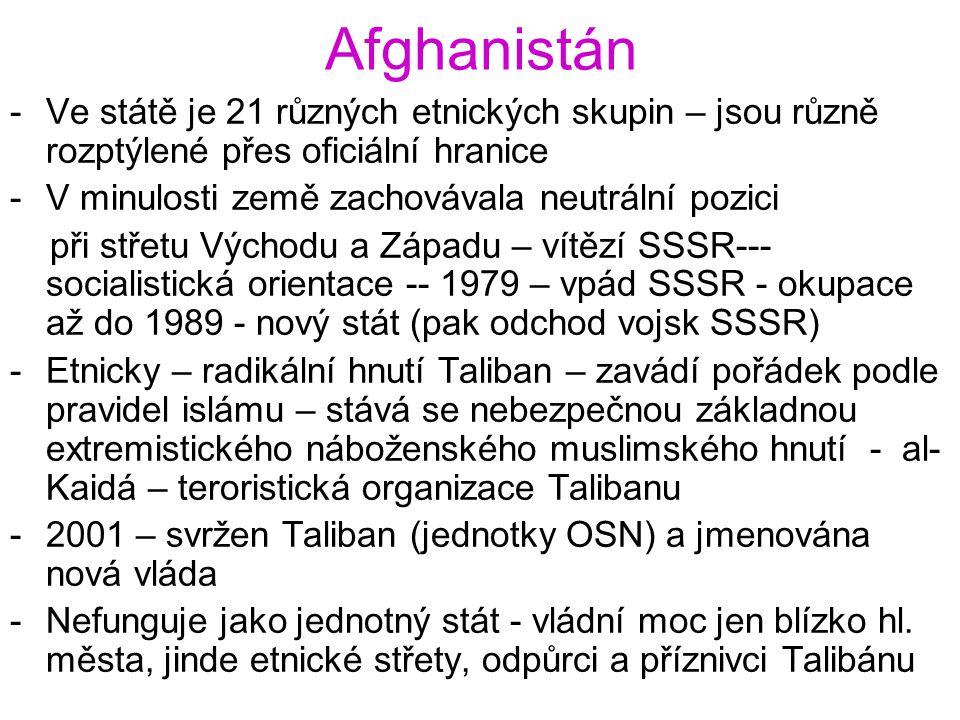 Afghanistán -Ve státě je 21 různých etnických skupin – jsou různě rozptýlené přes oficiální hranice -V minulosti země zachovávala neutrální pozici při