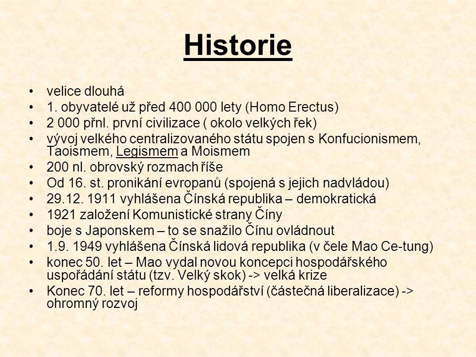 Historie velice dlouhá 1.obyvatelé už před 400 000 lety (Homo Erectus) 2 000 přnl.