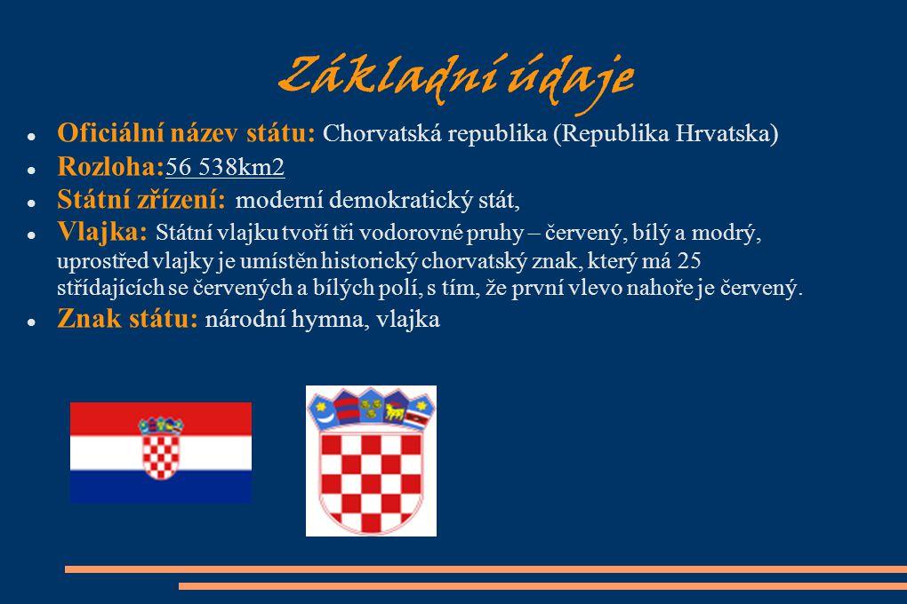 Základní údaje Oficiální název státu: Chorvatská republika (Republika Hrvatska) Rozloha: 56 538km2 Státní zřízení: moderní demokratický stát, Vlajka: