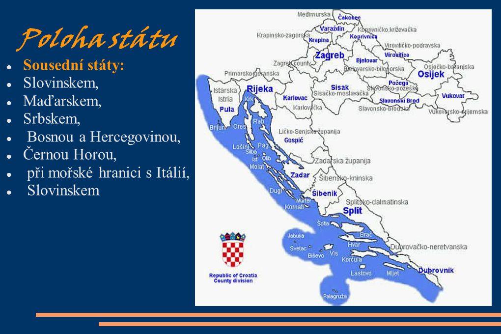 Poloha státu Sousední státy: Slovinskem, Maďarskem, Srbskem, Bosnou a Hercegovinou, Černou Horou, při mořské hranici s Itálií, Slovinskem