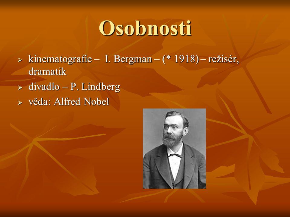 Osobnosti  kinematografie – I. Bergman – (* 1918) – režisér, dramatik  divadlo – P. Lindberg  věda: Alfred Nobel