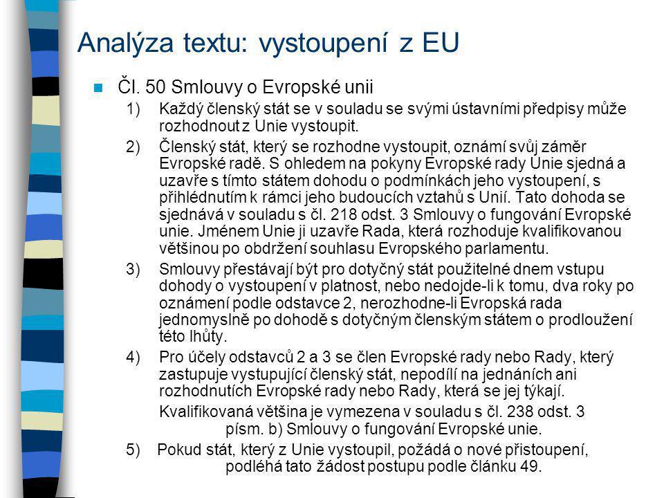 Analýza textu: vystoupení z EU Čl. 50 Smlouvy o Evropské unii 1)Každý členský stát se v souladu se svými ústavními předpisy může rozhodnout z Unie vys