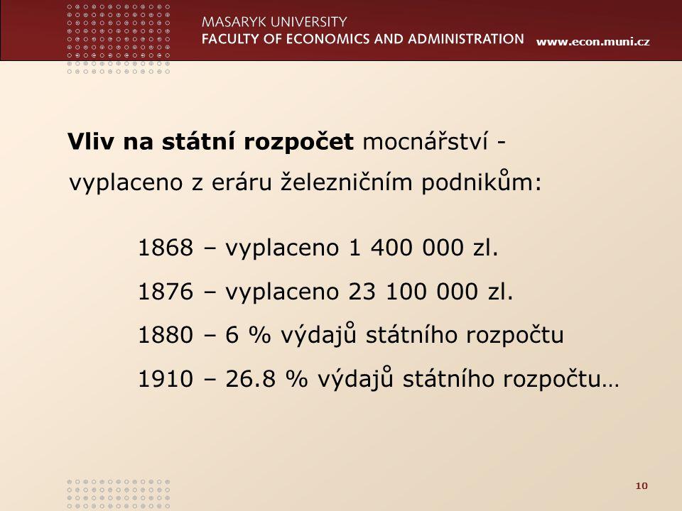 www.econ.muni.cz 10 vyplaceno z eráru železničním podnikům: 1868 – vyplaceno 1 400 000 zl. 1876 – vyplaceno 23 100 000 zl. 1880 – 6 % výdajů státního