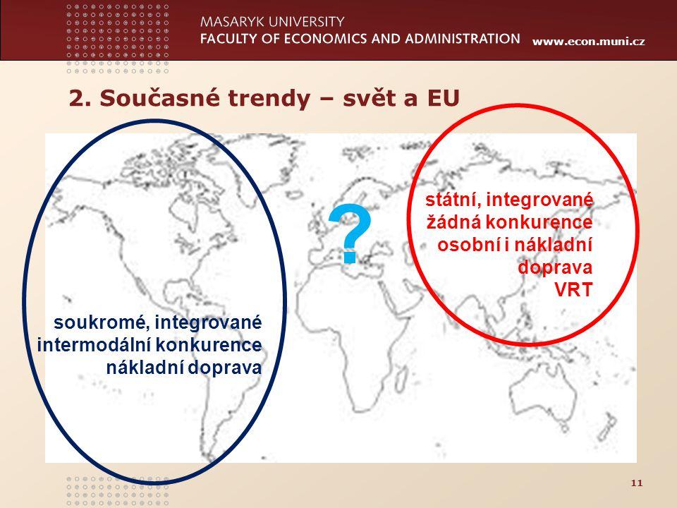 www.econ.muni.cz 11 ? soukromé, integrované intermodální konkurence nákladní doprava státní, integrované žádná konkurence osobní i nákladní doprava VR