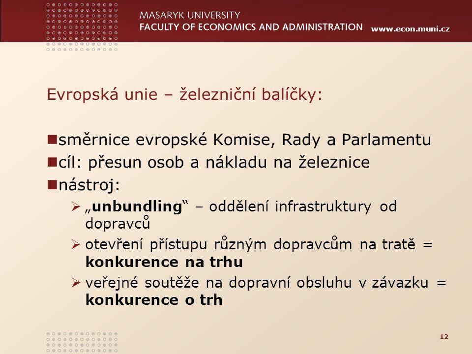 """www.econ.muni.cz Evropská unie – železniční balíčky: směrnice evropské Komise, Rady a Parlamentu cíl: přesun osob a nákladu na železnice nástroj:  """"u"""