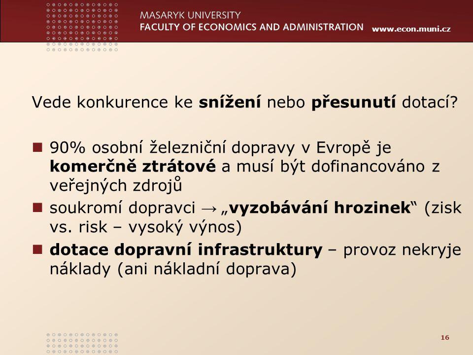 www.econ.muni.cz Vede konkurence ke snížení nebo přesunutí dotací? 90% osobní železniční dopravy v Evropě je komerčně ztrátové a musí být dofinancován