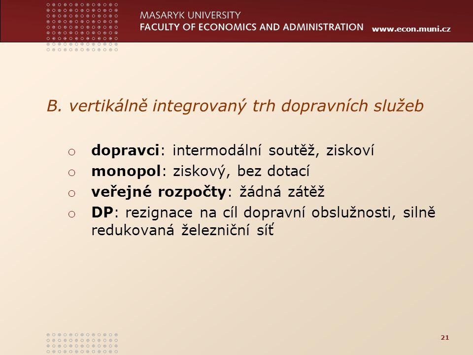 www.econ.muni.cz B. vertikálně integrovaný trh dopravních služeb o dopravci: intermodální soutěž, ziskoví o monopol: ziskový, bez dotací o veřejné roz