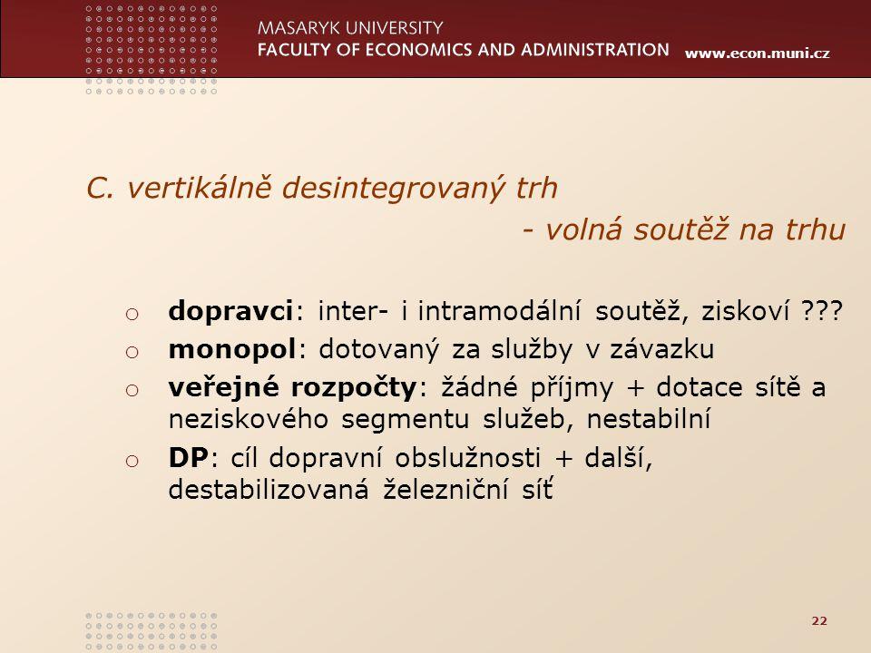 www.econ.muni.cz C. vertikálně desintegrovaný trh - volná soutěž na trhu o dopravci: inter- i intramodální soutěž, ziskoví ??? o monopol: dotovaný za