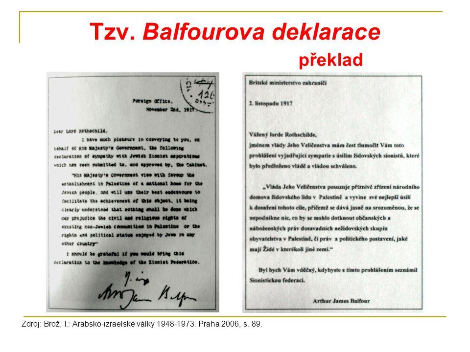 Tzv. Balfourova deklarace Zdroj: Brož, I.: Arabsko-izraelské války 1948-1973. Praha 2006, s. 89. překlad