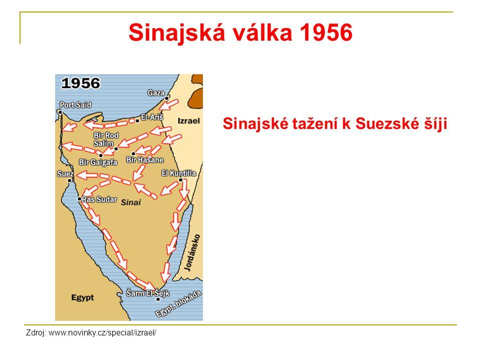 Sinajská válka 1956 Zdroj: www.novinky.cz/special/izrael/ Sinajské tažení k Suezské šíji