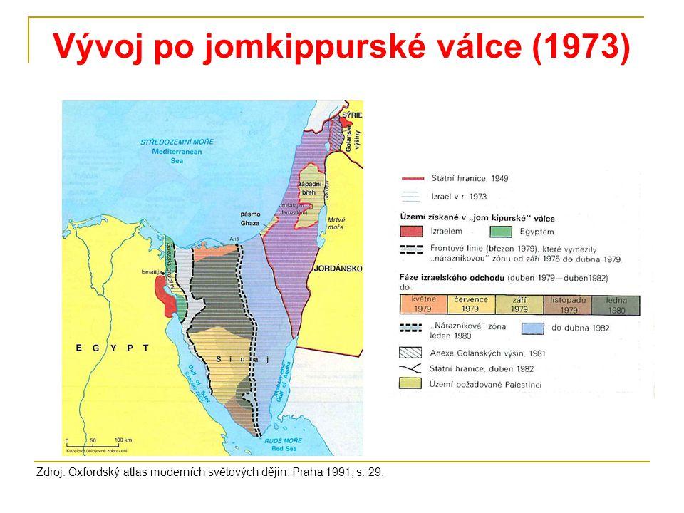 Vývoj po jomkippurské válce (1973) Zdroj: Oxfordský atlas moderních světových dějin. Praha 1991, s. 29.