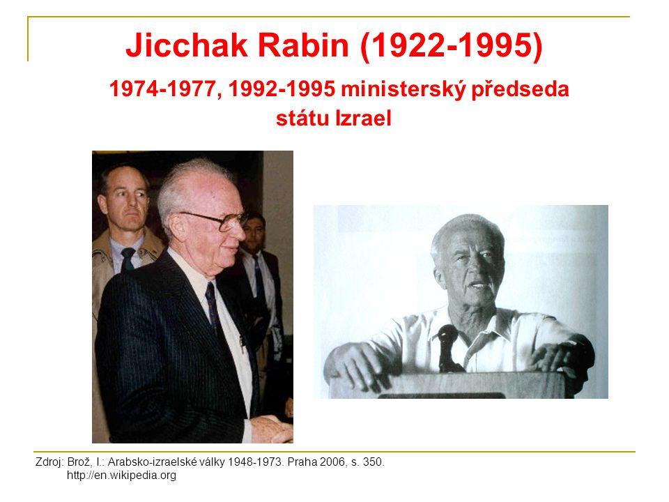 Jicchak Rabin (1922-1995) 1974-1977, 1992-1995 ministerský předseda státu Izrael Zdroj: Brož, I.: Arabsko-izraelské války 1948-1973. Praha 2006, s. 35