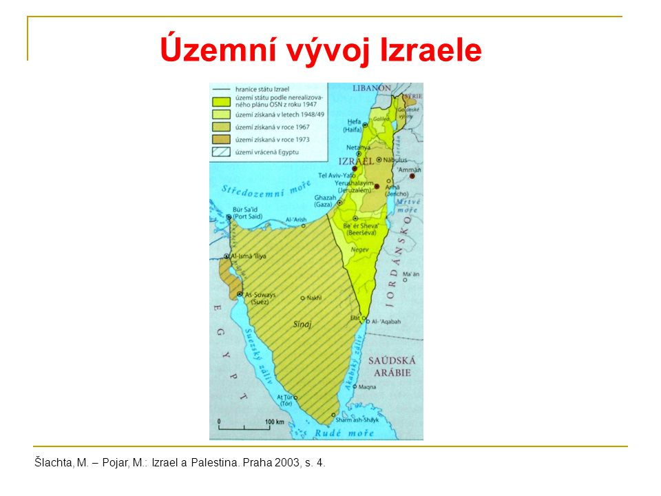 Územní vývoj Izraele Šlachta, M. – Pojar, M.: Izrael a Palestina. Praha 2003, s. 4.
