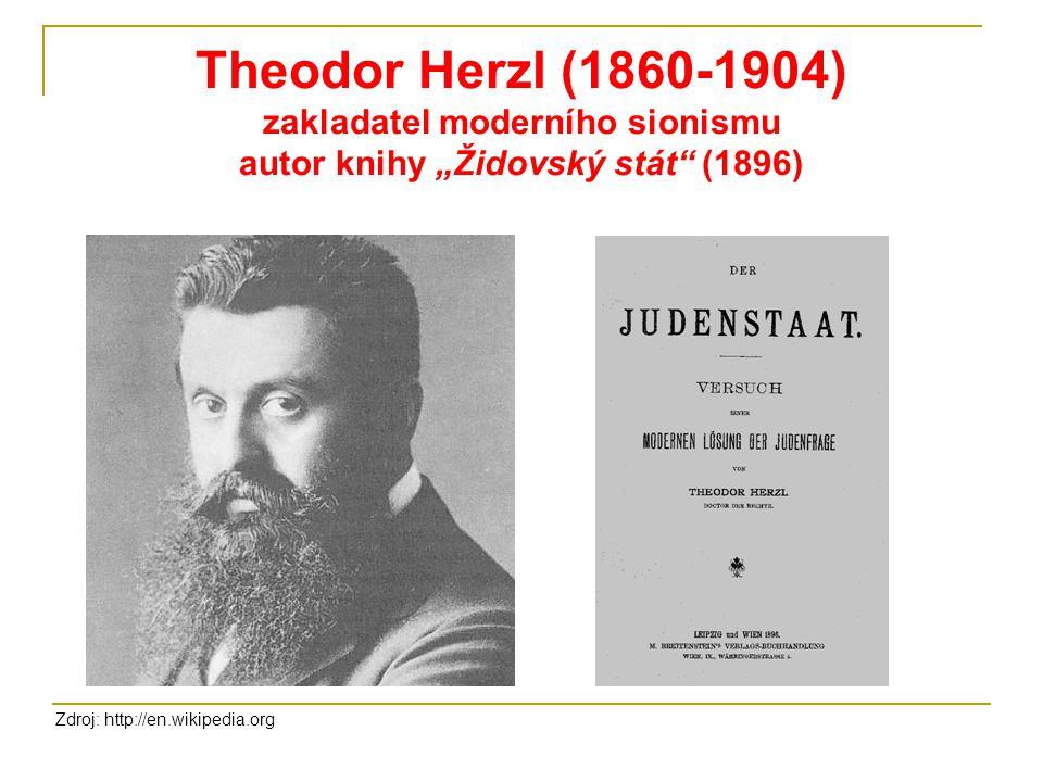 """Theodor Herzl (1860-1904) zakladatel moderního sionismu autor knihy """"Židovský stát"""" (1896) Zdroj: http://en.wikipedia.org"""