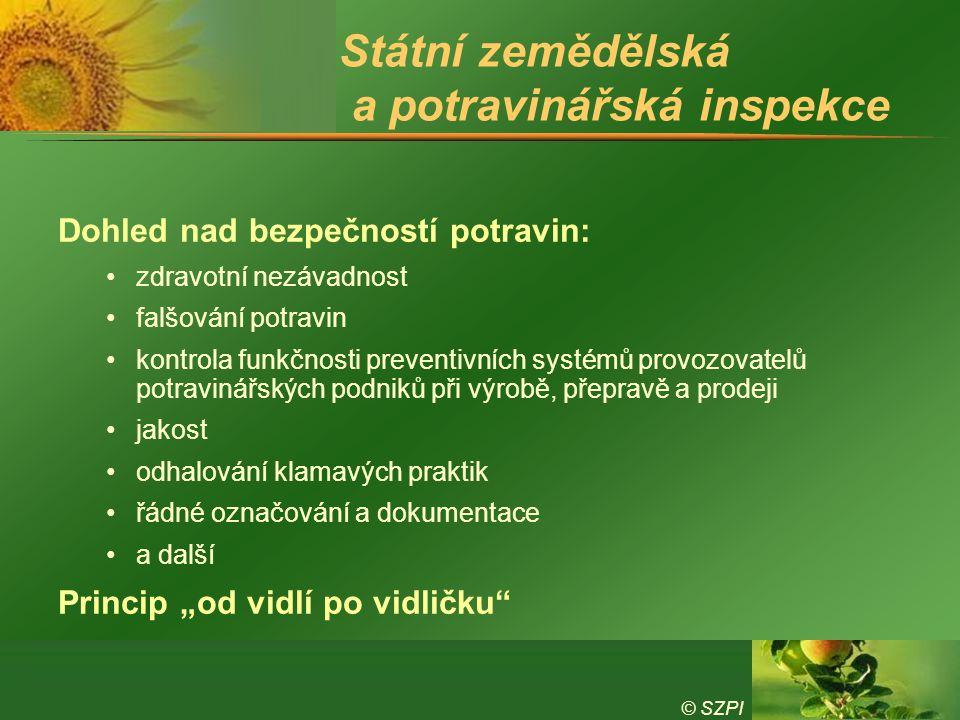© SZPI Státní zemědělská a potravinářská inspekce Dohled nad bezpečností potravin: zdravotní nezávadnost falšování potravin kontrola funkčnosti preven