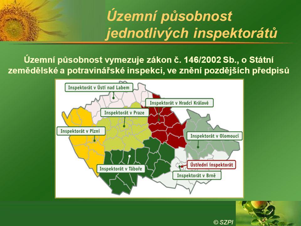 © SZPI Územní působnost jednotlivých inspektorátů Územní působnost vymezuje zákon č. 146/2002 Sb., o Státní zemědělské a potravinářské inspekci, ve zn