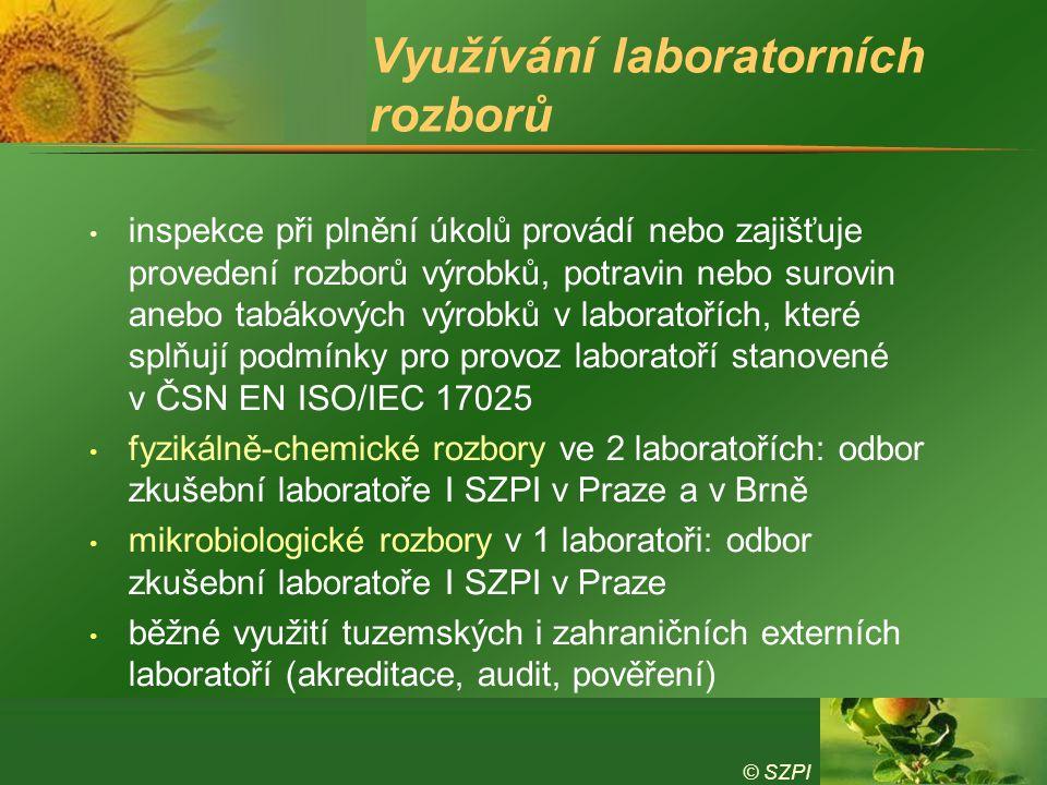 © SZPI Využívání laboratorních rozborů inspekce při plnění úkolů provádí nebo zajišťuje provedení rozborů výrobků, potravin nebo surovin anebo tabákových výrobků v laboratořích, které splňují podmínky pro provoz laboratoří stanovené v ČSN EN ISO/IEC 17025 fyzikálně-chemické rozbory ve 2 laboratořích: odbor zkušební laboratoře I SZPI v Praze a v Brně mikrobiologické rozbory v 1 laboratoři: odbor zkušební laboratoře I SZPI v Praze běžné využití tuzemských i zahraničních externích laboratoří (akreditace, audit, pověření)
