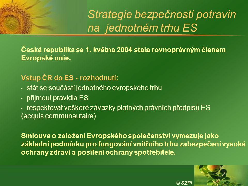© SZPI Strategie bezpečnosti potravin na jednotném trhu ES Česká republika se 1. května 2004 stala rovnoprávným členem Evropské unie. Vstup ČR do ES -