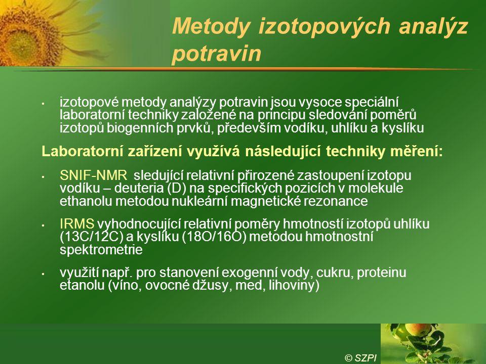 © SZPI Metody izotopových analýz potravin izotopové metody analýzy potravin jsou vysoce speciální laboratorní techniky založené na principu sledování