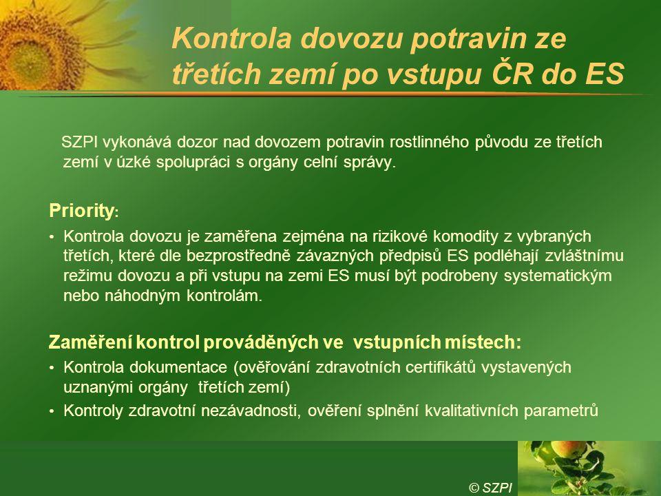 © SZPI Kontrola dovozu potravin ze třetích zemí po vstupu ČR do ES SZPI vykonává dozor nad dovozem potravin rostlinného původu ze třetích zemí v úzké spolupráci s orgány celní správy.