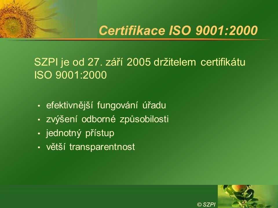 © SZPI Certifikace ISO 9001:2000 SZPI je od 27. září 2005 držitelem certifikátu ISO 9001:2000 efektivnější fungování úřadu zvýšení odborné způsobilost