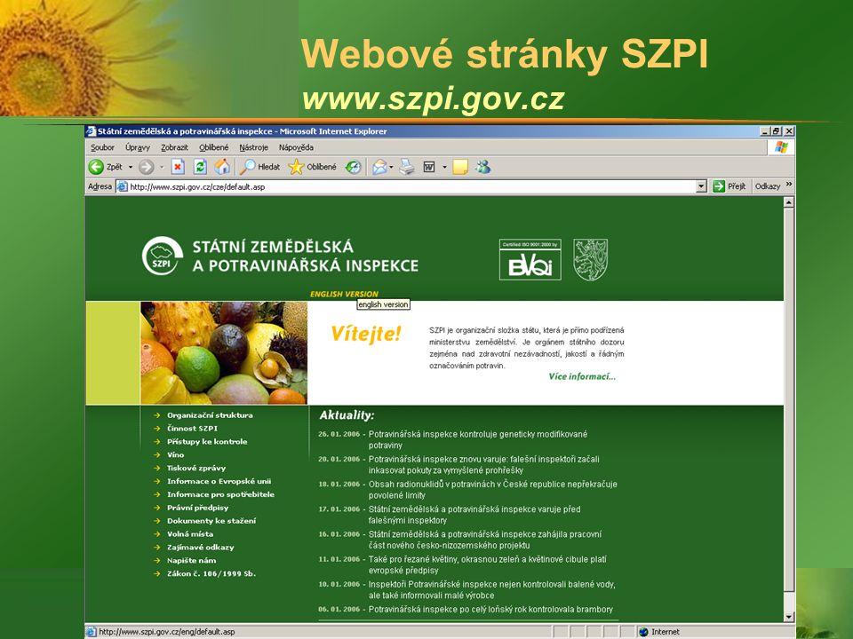© SZPI Webové stránky SZPI www.szpi.gov.cz