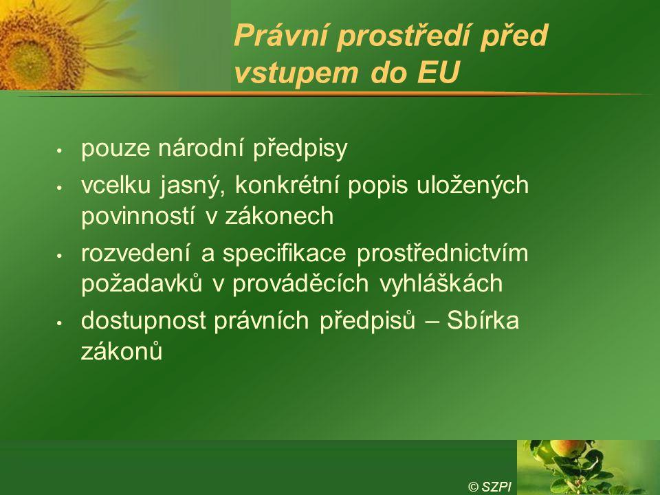 © SZPI Právní prostředí před vstupem do EU pouze národní předpisy vcelku jasný, konkrétní popis uložených povinností v zákonech rozvedení a specifikac