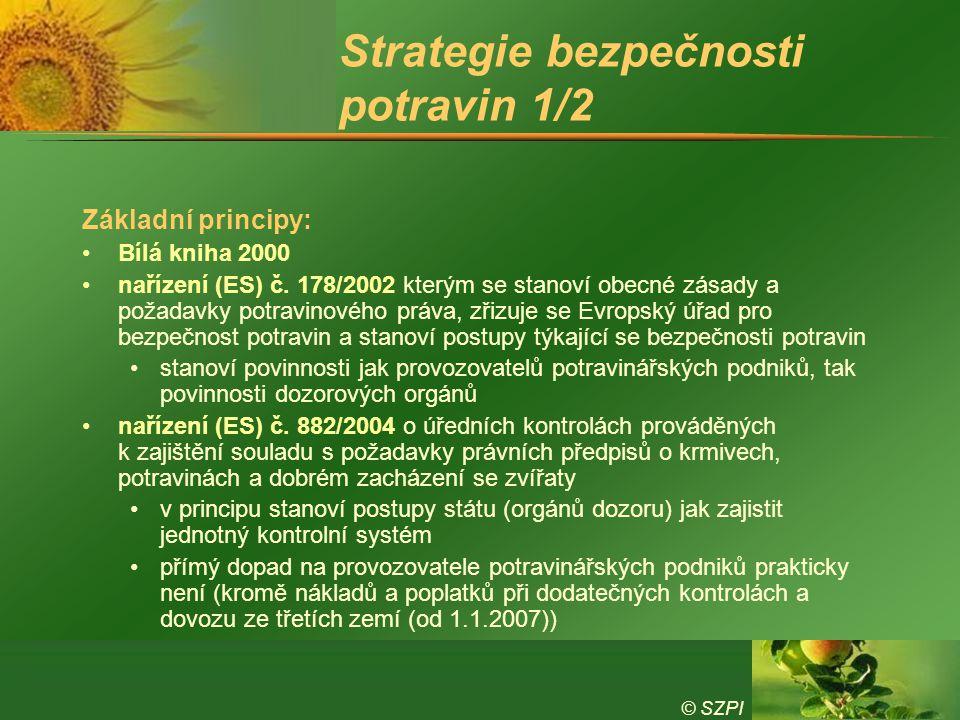© SZPI Strategie bezpečnosti potravin 1/2 Základní principy: Bílá kniha 2000 nařízení (ES) č. 178/2002 kterým se stanoví obecné zásady a požadavky pot