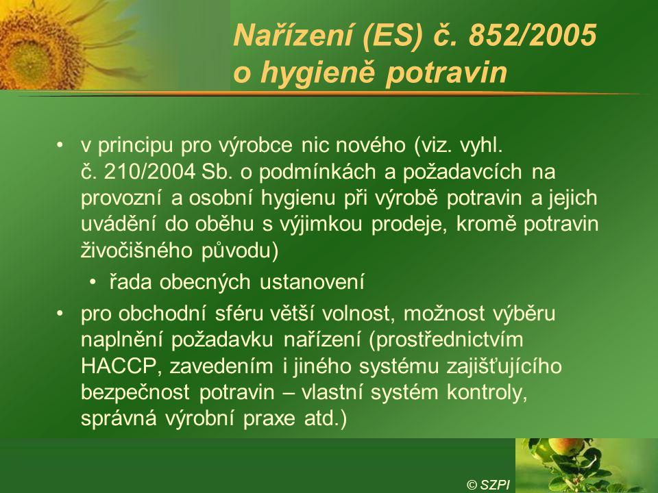 © SZPI Nařízení (ES) č. 852/2005 o hygieně potravin v principu pro výrobce nic nového (viz. vyhl. č. 210/2004 Sb. o podmínkách a požadavcích na provoz