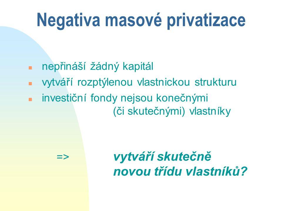 Negativa masové privatizace n nepřináší žádný kapitál n vytváří rozptýlenou vlastnickou strukturu n investiční fondy nejsou konečnými (či skutečnými)
