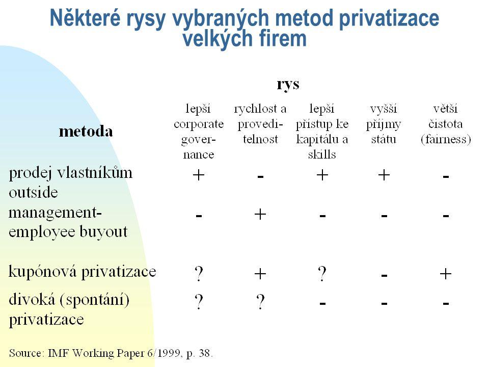 Některé rysy vybraných metod privatizace velkých firem