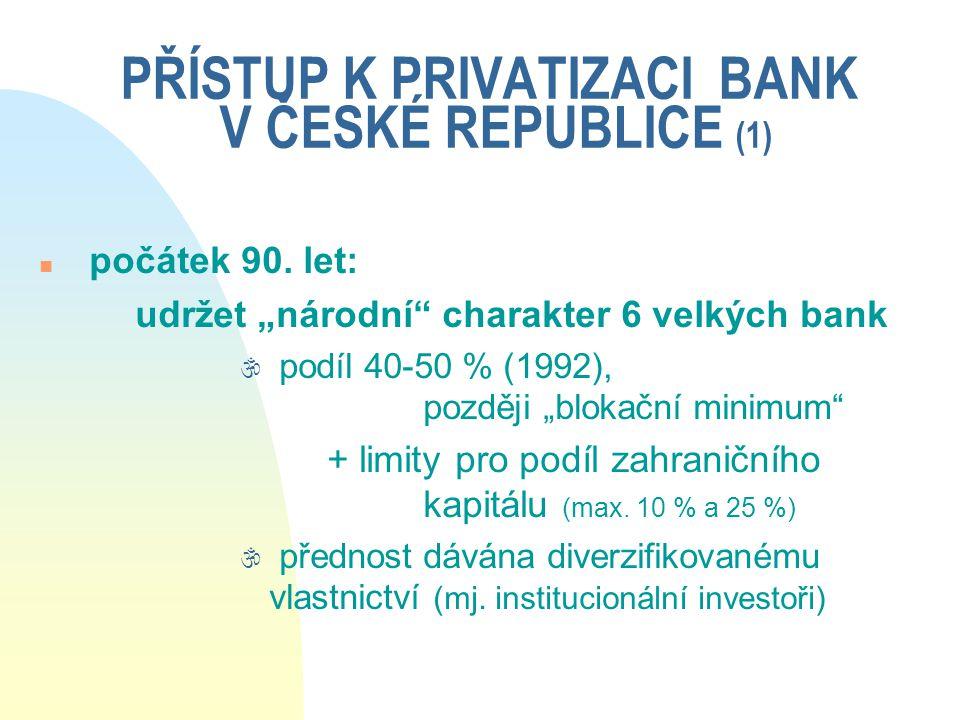 """PŘÍSTUP K PRIVATIZACI BANK V ČESKÉ REPUBLICE (1) n počátek 90. let: udržet """"národní"""" charakter 6 velkých bank \ podíl 40-50 % (1992), později """"blokačn"""