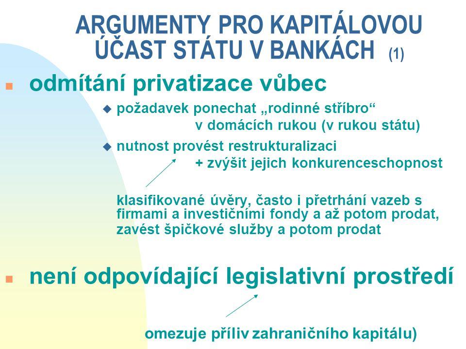 """ARGUMENTY PRO KAPITÁLOVOU ÚČAST STÁTU V BANKÁCH (1) n odmítání privatizace vůbec u požadavek ponechat """"rodinné stříbro"""" v domácích rukou (v rukou stát"""