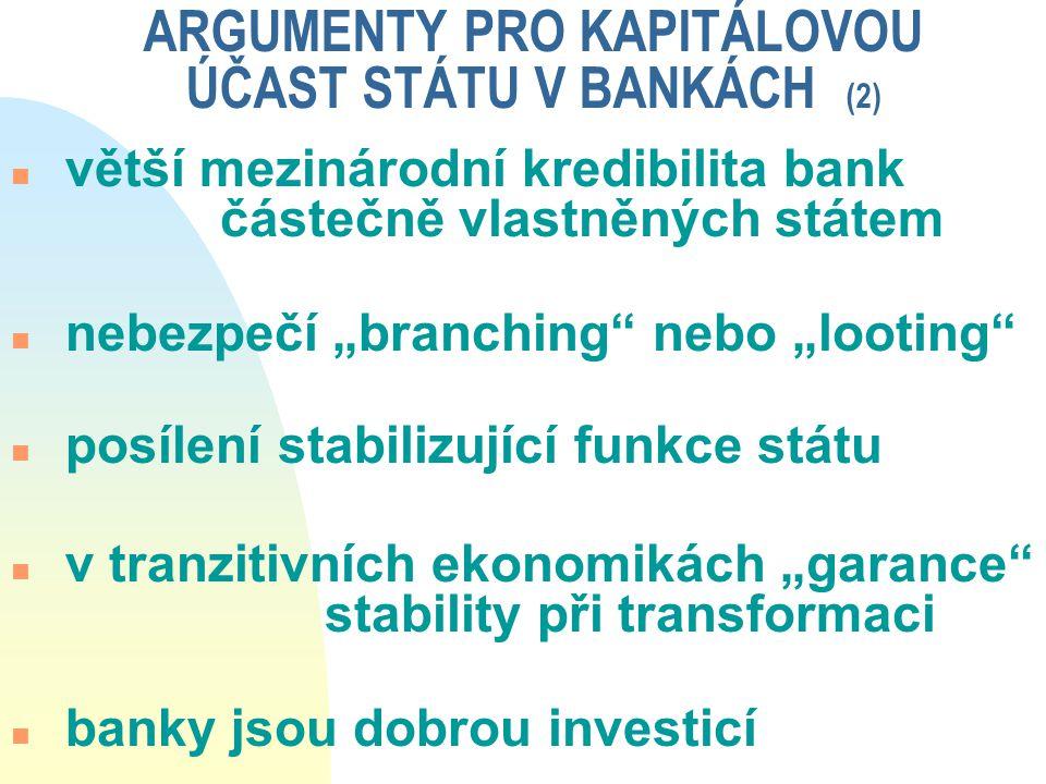 """ARGUMENTY PRO KAPITÁLOVOU ÚČAST STÁTU V BANKÁCH (2) n větší mezinárodní kredibilita bank částečně vlastněných státem n nebezpečí """"branching"""" nebo """"loo"""