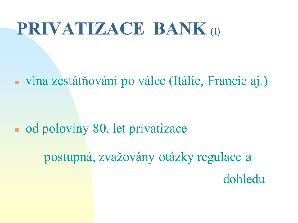 PRIVATIZACE BANK (I) n vlna zestátňování po válce (Itálie, Francie aj.) n od poloviny 80. let privatizace postupná, zvažovány otázky regulace a dohled