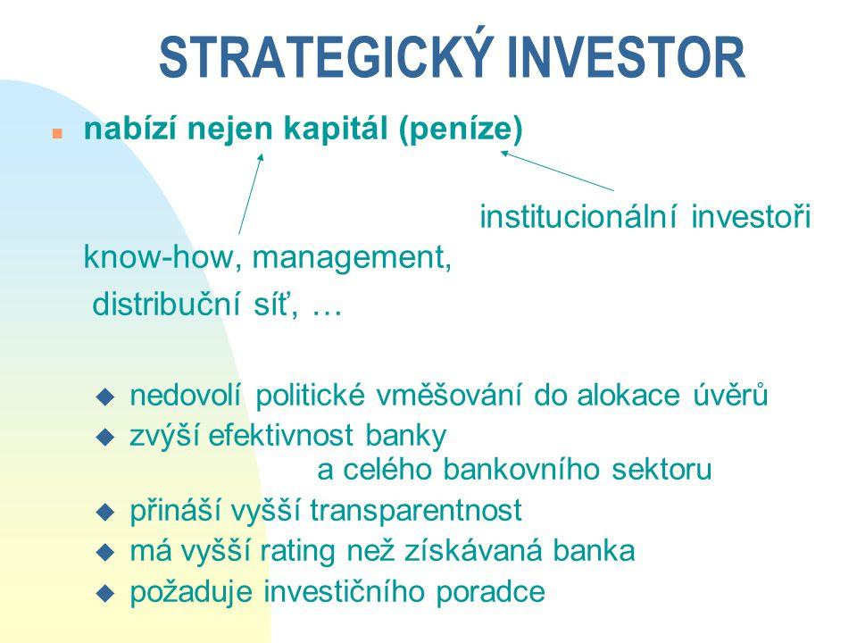STRATEGICKÝ INVESTOR n nabízí nejen kapitál (peníze) institucionální investoři know-how, management, distribuční síť, … u nedovolí politické vměšování