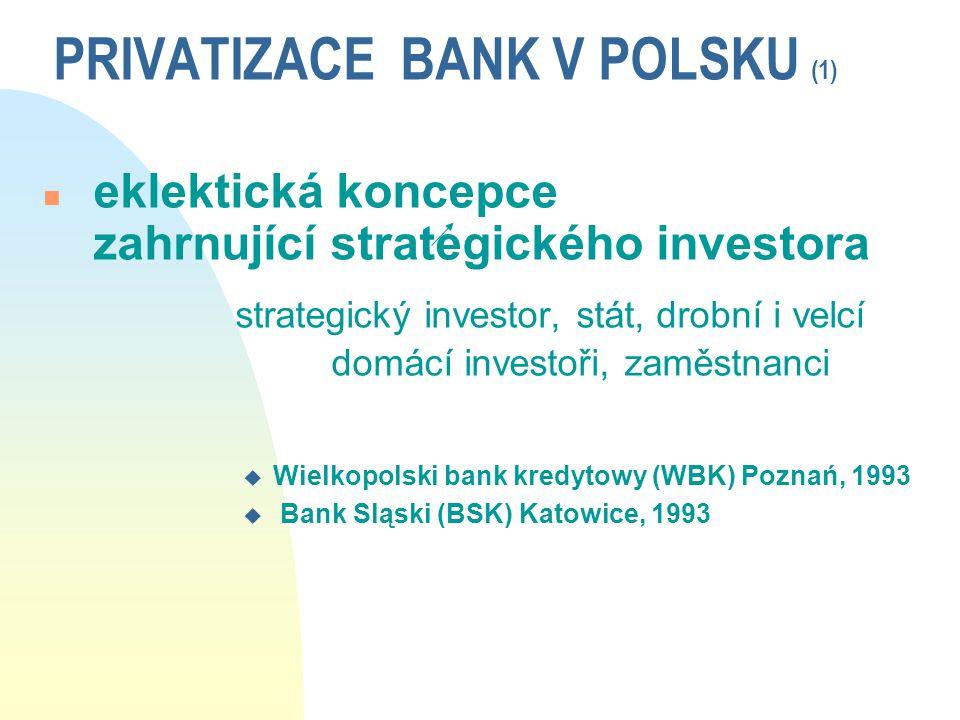 PRIVATIZACE BANK V POLSKU (1) n eklektická koncepce zahrnující strategického investora strategický investor, stát, drobní i velcí domácí investoři, za