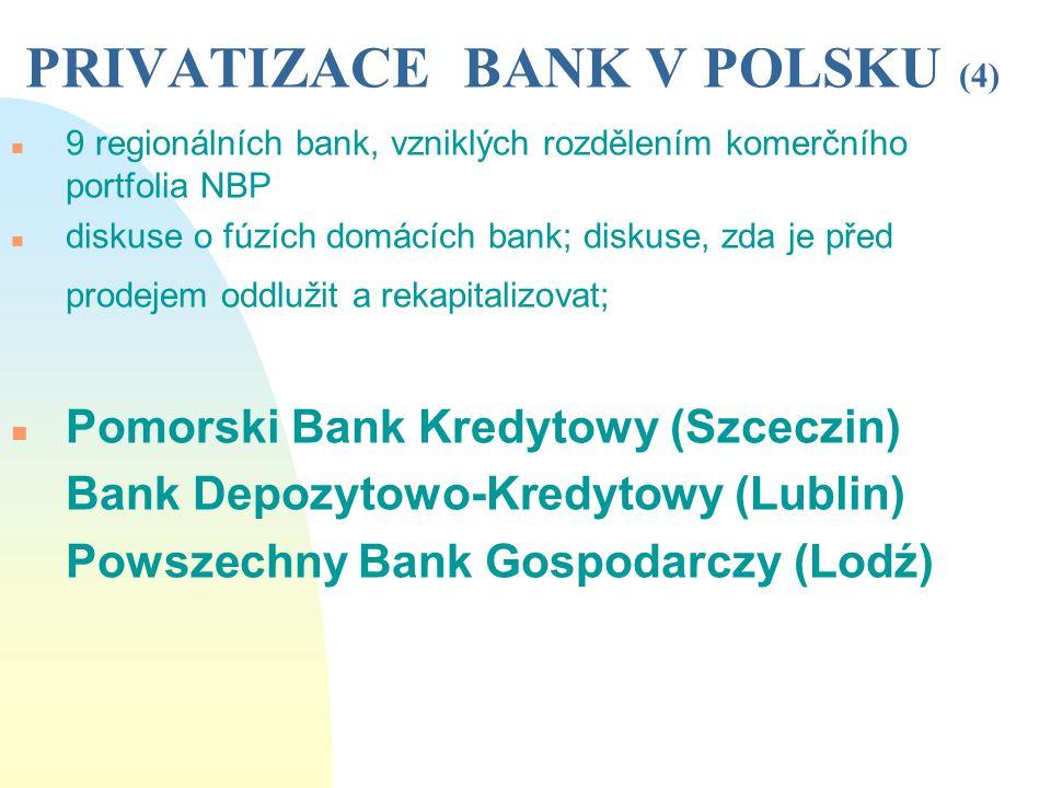 PRIVATIZACE BANK V POLSKU (4) n 9 regionálních bank, vzniklých rozdělením komerčního portfolia NBP n diskuse o fúzích domácích bank; diskuse, zda je p