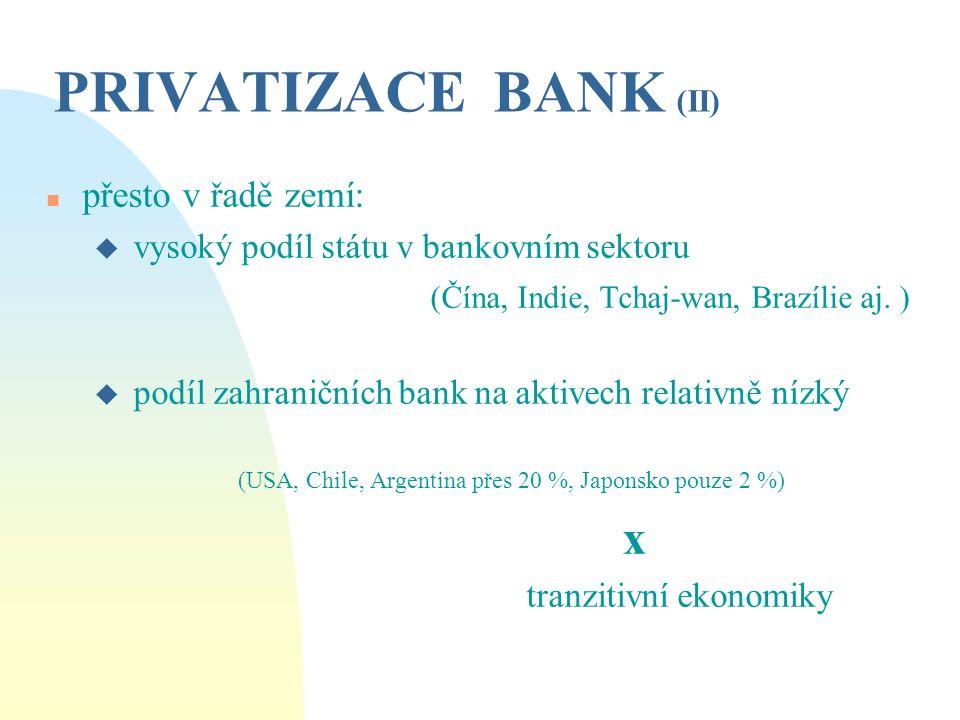 ARGUMENTY PROTI KAPITÁLOVÉ ÚČASTI STÁTU V BANKÁCH n omezuje tržní charakter ekonomiky (systémové důvody, problémem uplatnění tržních nástrojů regulace a bankovního dohledu) n vlastnictví není jasně definované a je obtížně uplatňovatelné n přináší největší výhody bankovnímu managementu (vede k morálnímu hazardu, nezájem na privatizaci, příčina bankovních krizí) n v transitivních ekonomikách finančně náročné (banky podkapitalizované, investice vyžaduje získání know-how a modernizace)