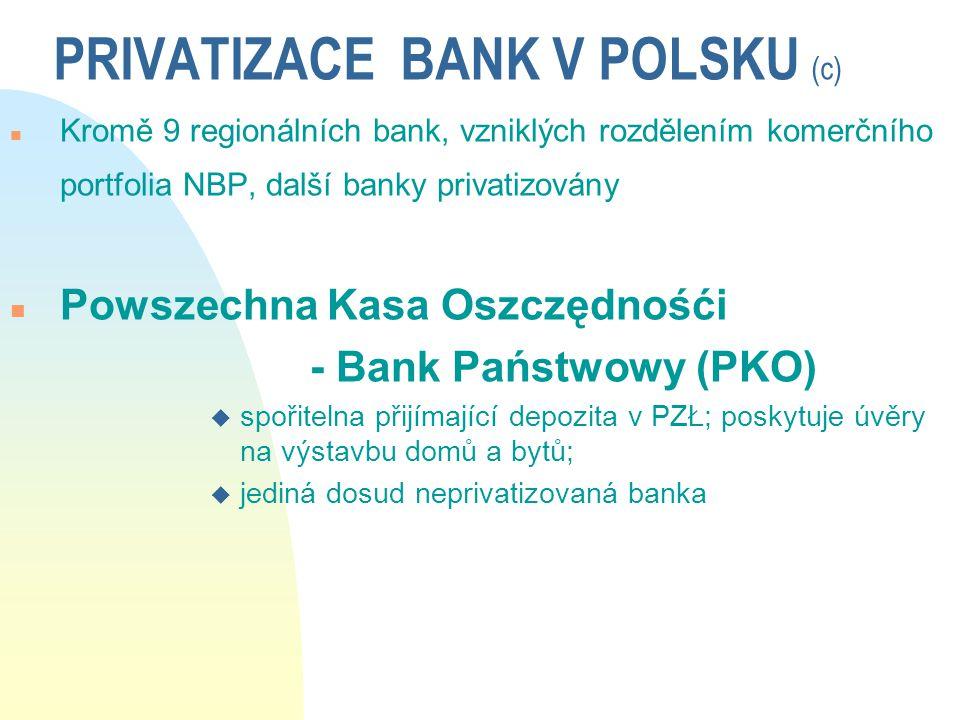 PRIVATIZACE BANK V POLSKU (c) n Kromě 9 regionálních bank, vzniklých rozdělením komerčního portfolia NBP, další banky privatizovány n Powszechna Kasa