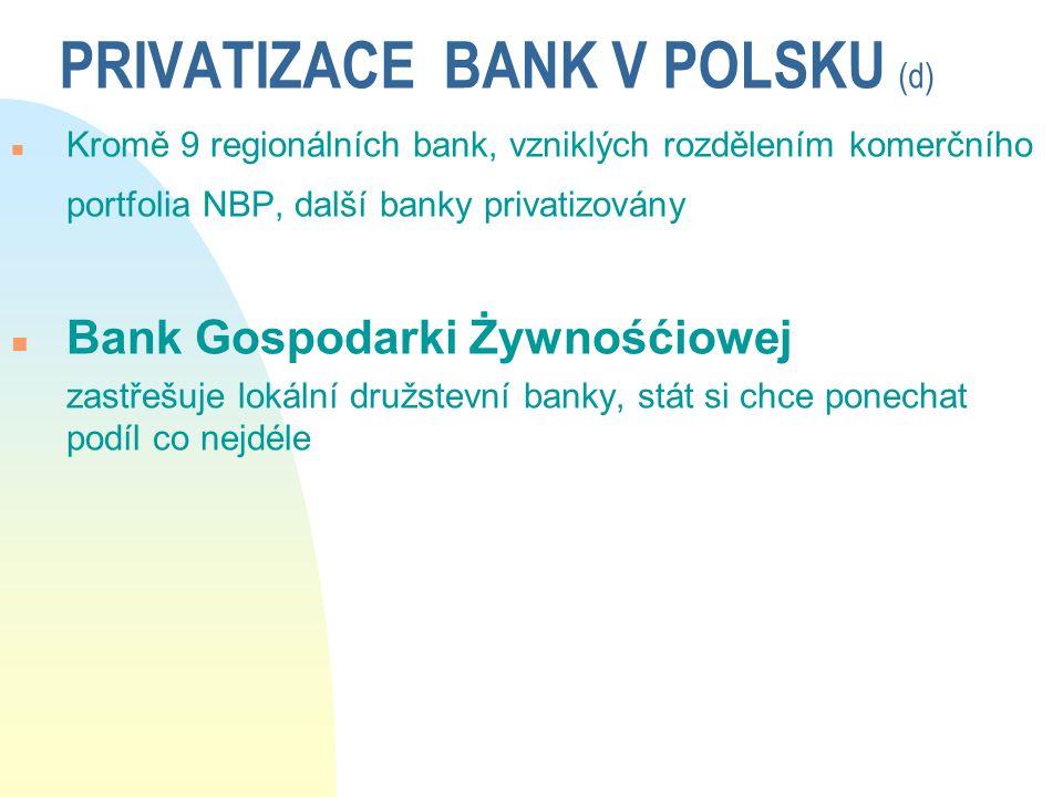 PRIVATIZACE BANK V POLSKU (d) n Kromě 9 regionálních bank, vzniklých rozdělením komerčního portfolia NBP, další banky privatizovány n Bank Gospodarki