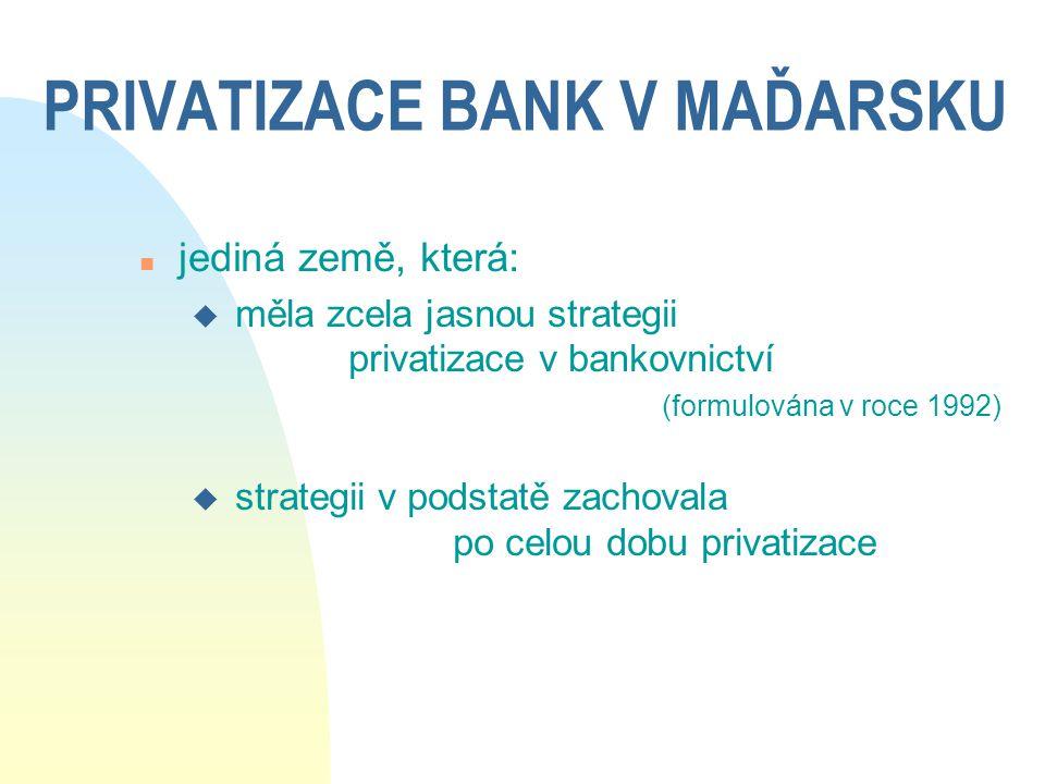 PRIVATIZACE BANK V MAĎARSKU n jediná země, která: u měla zcela jasnou strategii privatizace v bankovnictví (formulována v roce 1992) u strategii v pod
