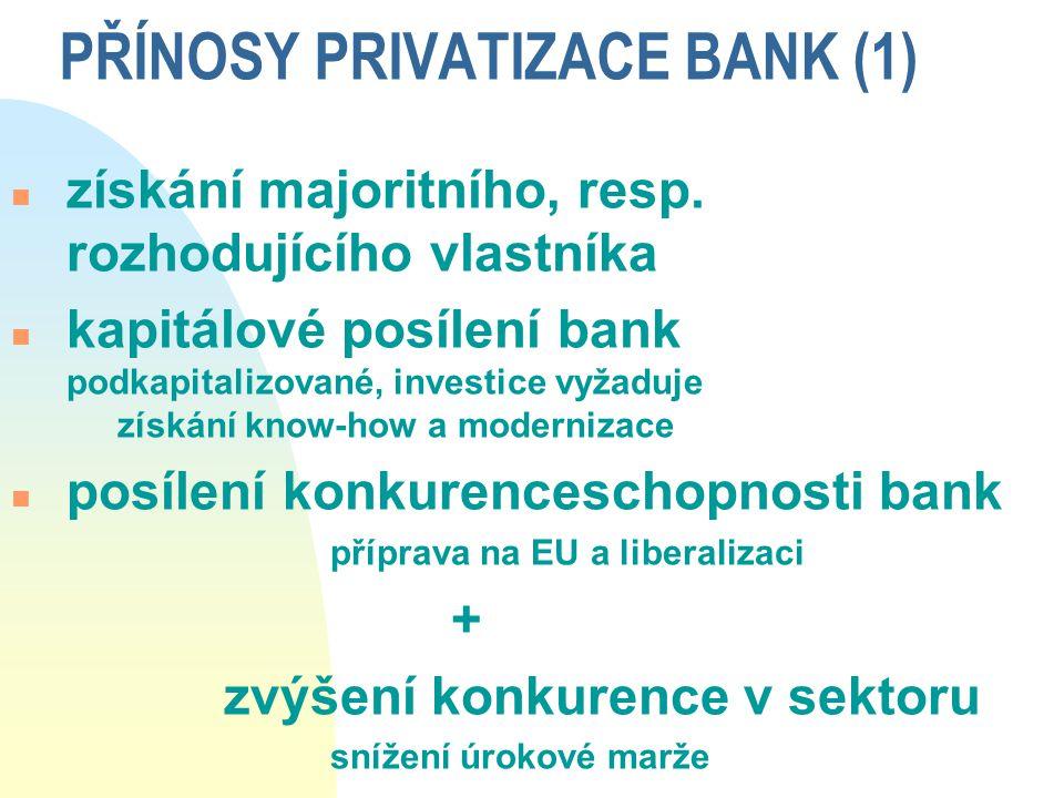 PŘÍNOSY PRIVATIZACE BANK (1) n získání majoritního, resp. rozhodujícího vlastníka n kapitálové posílení bank podkapitalizované, investice vyžaduje zís